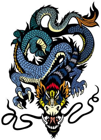 ドラゴンのタトゥー図は白い背景で隔離  イラスト・ベクター素材