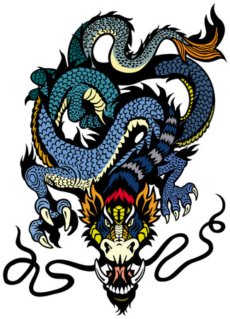 dragon tattoo illustration isolated on white background Vector