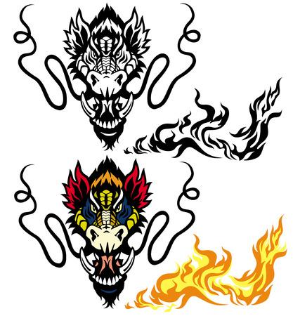 cabeza de dragon: cabeza de drag�n tatuajes o aislado fondo blanco Vectores