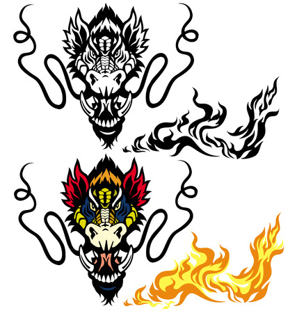 dragon head tattoo isolated o white background Stock Vector - 23655170