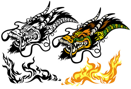 cabeza de dragon: tatuaje de drag�n cabeza aislada en el fondo blanco