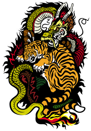 yin yang symbol: dragon and tiger fighting tattoo Illustration
