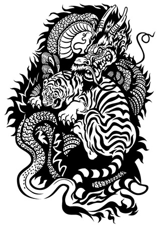 legends folklore: dragon and tiger fighting black and white tattoo illustration