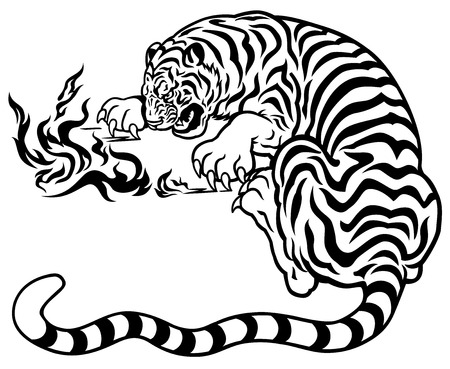 tiger with fire black and white illustration Vettoriali