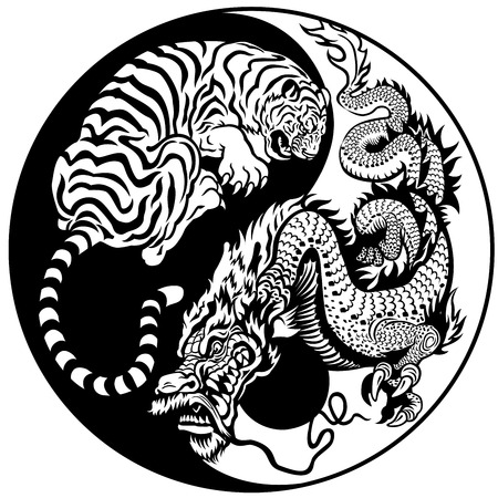 black and white dragon: dragon and tiger yin yang symbol of harmony and balance  Illustration