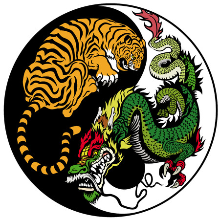 dragon and tiger yin yang symbol of harmony and balance Vector