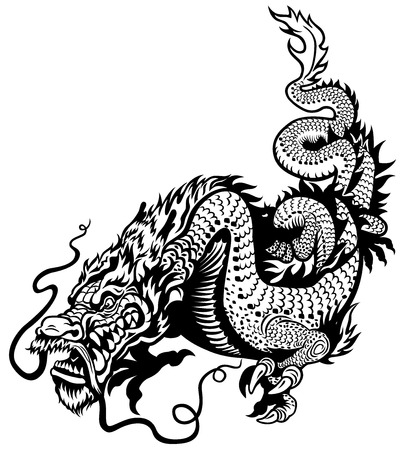 totem: dragon black and white illustration