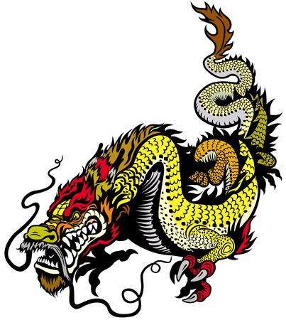 zodiac symbol: golden dragon illustration isolated onwhite background