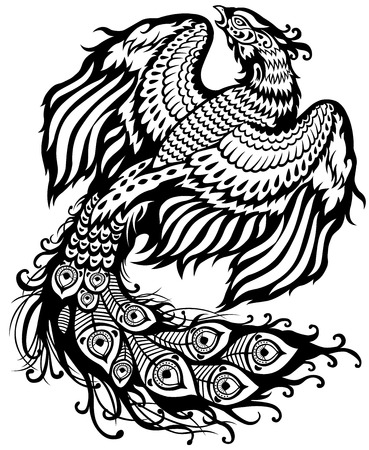 tatouage oiseau: phoenix illustration en noir et blanc Illustration