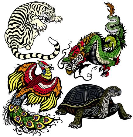 dragón, el tigre, la tortuga y el fénix Conjunto de cuatro animales del feng shui celestes aislados sobre fondo blanco Ilustración de vector