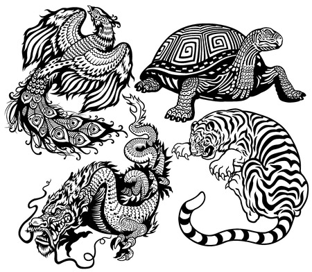 celestial: tiger,turtle,phoenix and dragon  Black and white set of four feng shui celestial animals  Illustration