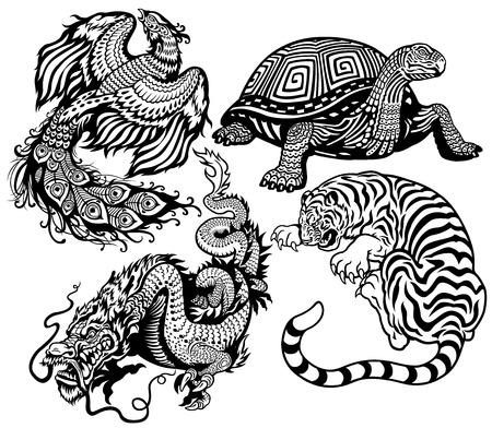 tigre, la tortuga, el fénix y el dragón y blanco conjunto de cuatro feng shui animales celestiales Negro Ilustración de vector