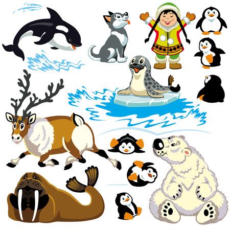 set med tecknade djur i arktiska Enstaka bilder för små barn Illustration