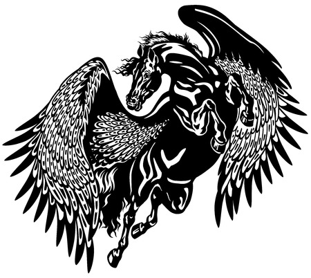 pegasus horse black and white tattoo illustration