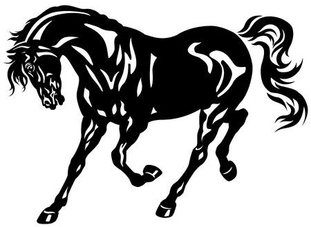 trotting: running black horse Illustration
