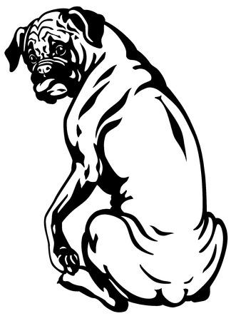 sit back: dog boxer breed, black and white illustration