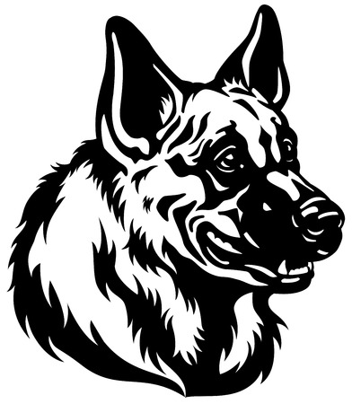 shepherds: german shepherd dog head, black and white illustration