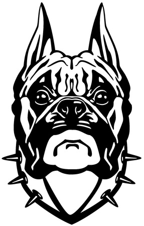 boxer dog: boxer dog head, black and white front view illustration