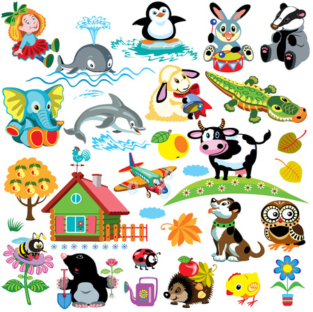 big se with pictures for babies and little kids  Cartoon images isolated on white background  Children illustration  Vettoriali