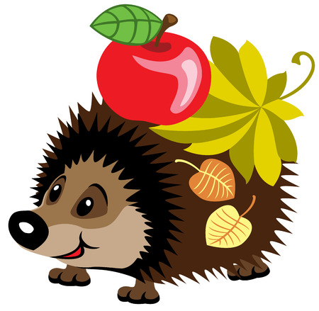 cartoon hedgehog with apple isolated on white