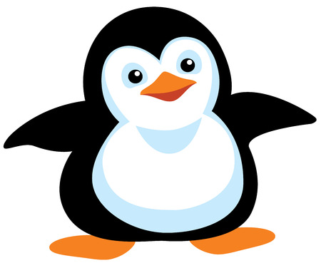 cartoon penguin isolated on white  イラスト・ベクター素材