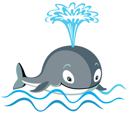 gush: cartoon whale isolated on white Illustration