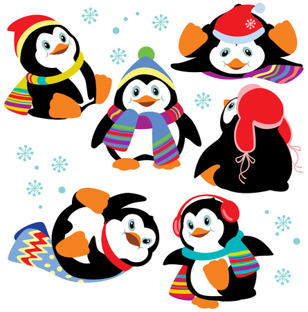 set with cartoon penguins isolated on white background