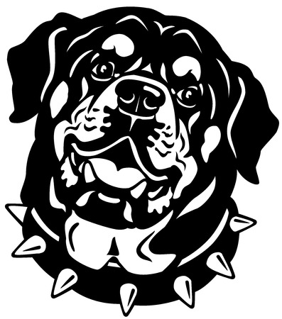 guard dog: dog head, rottweiler breed, black and white illustration
