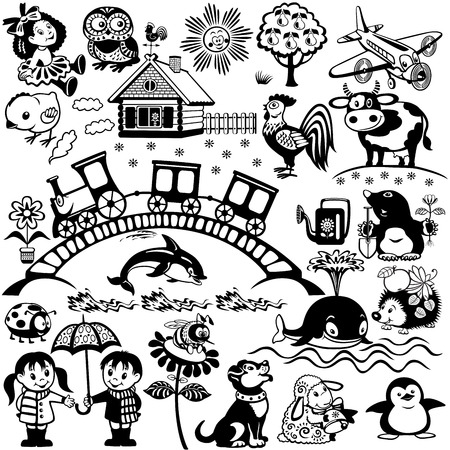 big set for babies and little kids,black and white cartoon pictures  Children illustration Vector