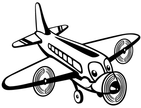 kiddish: cartoon airplane toy, black and white picture for little kids