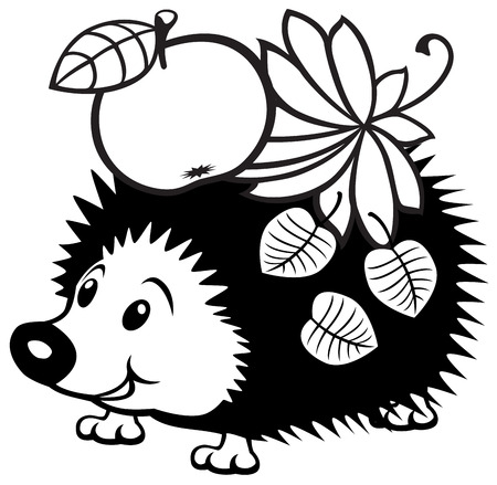 cartoon hedgehod, black and white picture for little kids Иллюстрация
