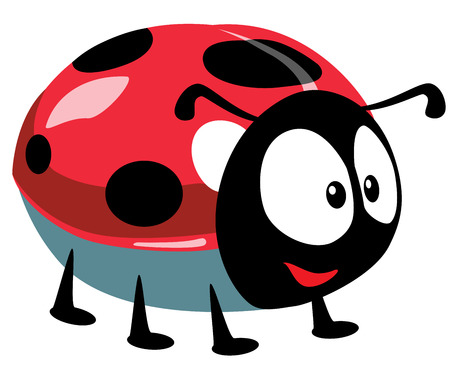 cartoon ladybird, isolated picture for babies and little kids