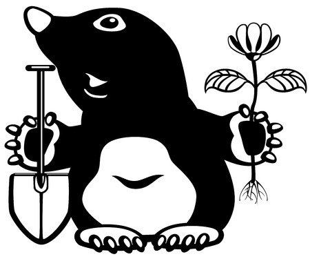 mole: cartoon mole holding flower and shovel, black and white picture for little kids