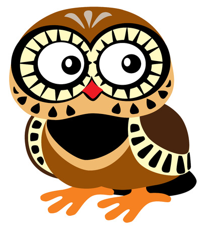 owl cute: cartoon owl, isolated picture for babies and little kids