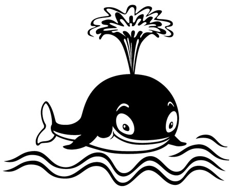 gush: cartoon whale, black and white picture for little kids