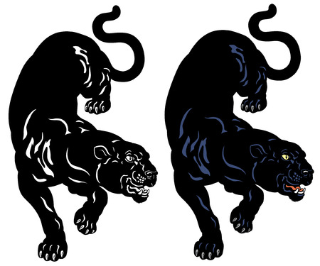 black and white panther: black panther tattoo illustration isolated on white background