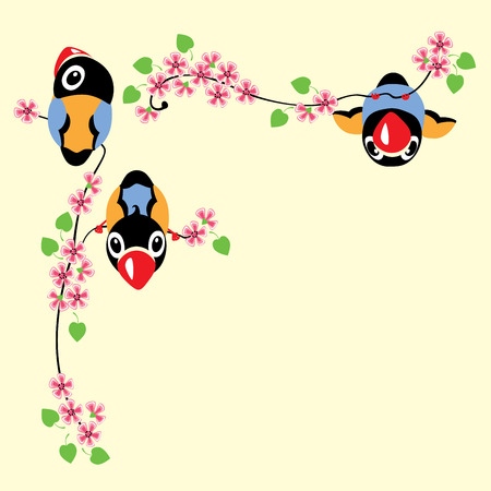 spring time: cartoon birds in spring time