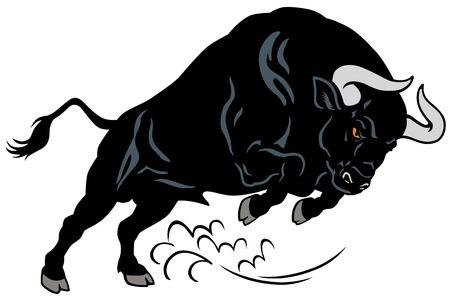 怒っている牛は、ポーズ、白い背景で隔離のイメージを攻撃します。