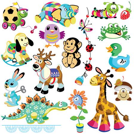 fondo para bebe: engastado con animales juguetes para beb�s y ni�os peque�os im�genes de dibujos animados aislado en el fondo blanco