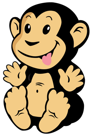 fondo para bebe: mono de la historieta para los beb�s y ni�os peque�os, la imagen aislada en el fondo blanco
