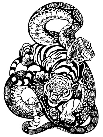 snake and tiger fighting, black and white tattoo illustration