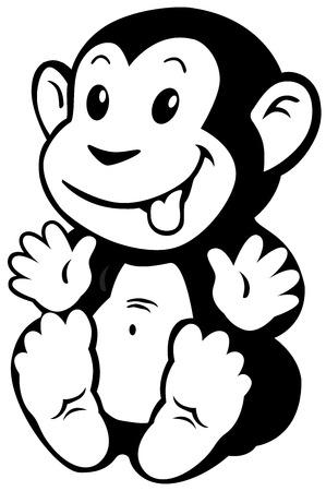 apes: cartoon monkey toy, black and white image