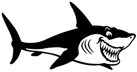 cartoon shark black and white image Vector