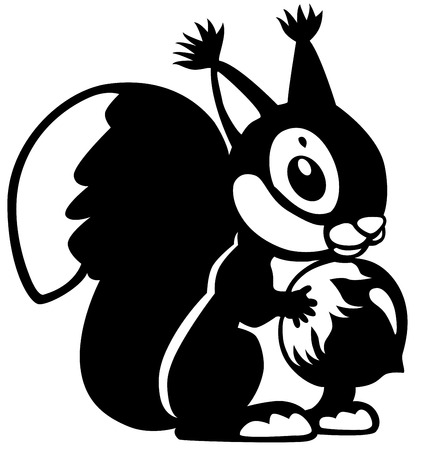 squirrel holding nut, black and white cartoon image  Vector