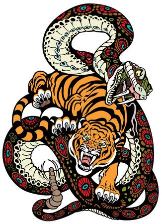 snake and tiger fighting, tattoo illustration   イラスト・ベクター素材