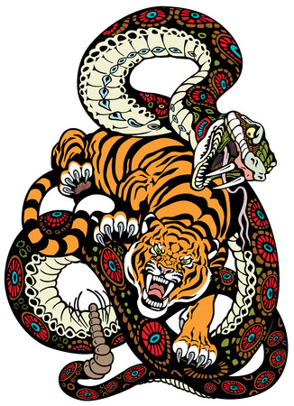 snake and tiger fighting, tattoo illustration  向量圖像