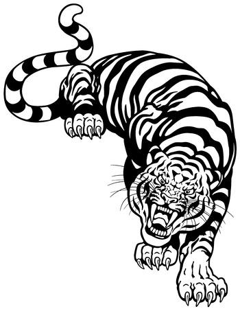 怒っているトラ、黒と白の入れ墨の図