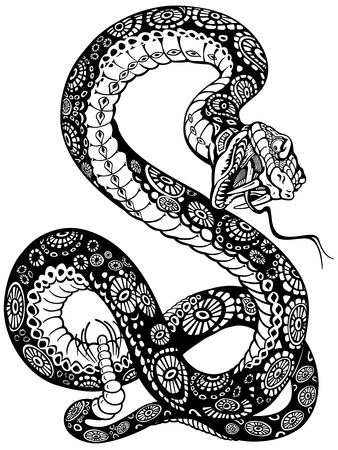 venomous snake: snake with open mouth, black and white tattoo illustration