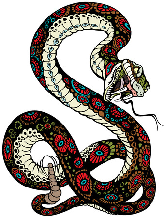 venomous snake: snake with open mouth, tattoo illustration isolated on white background