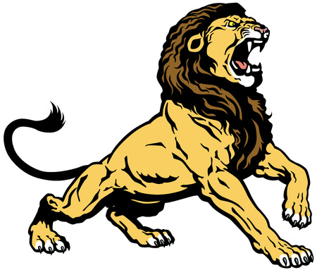 raging: roaring lion, tattoo image isolated on white background
